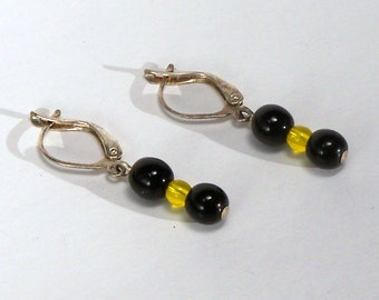 Black and Yellow Hinged Earrings