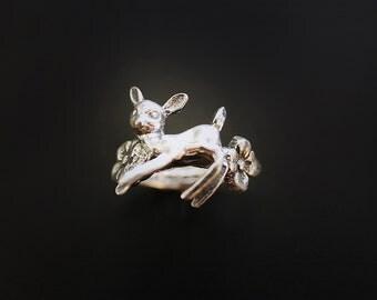Deer in the Flowers Ring in Sterling Silver