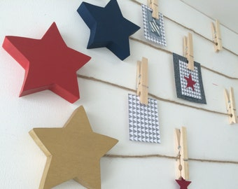 Star Art Display Clips, Star Art Cable, Navy, Red, Gold, Gray eco-friendly by Maple Shade Kids