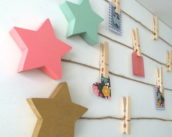 Star Art Display Clips, Star Art Cable, Gold, Coral Pink, Mint Green, Gray eco-friendly by Maple Shade Kids