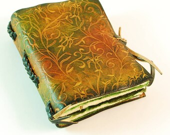 Leather journal poket blank book, colorful ornament