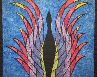 Phoenix Bird Wall Hanging Art Quilt
