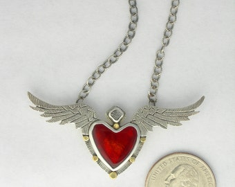 Heart with wings jewelry, angel wing heart necklace, flying heart necklace, winged heart necklace
