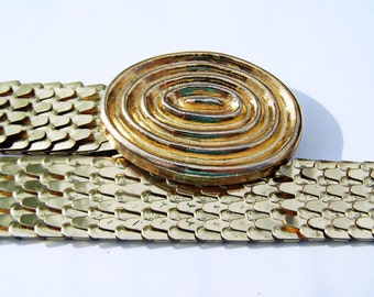 Vintage Accessories Ladies Belt Stretch Gold tone Expandable Fish Scale Dragon Scale Belt  Overlapping Mod Metallic Belt One size fits most