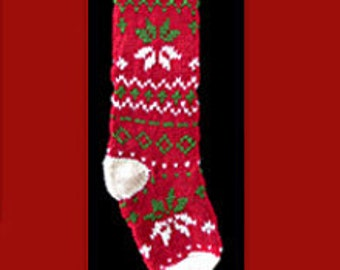 Hand knit Christmas stocking,  Personalized, made of pure wool yarn,  fully lined --snowflake