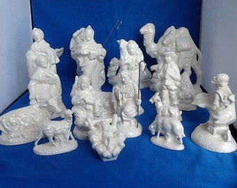 Christmas / Nativity Set / Ceramic / Holiday Decor / White Gloss Glaze / CIJ / Handmade / Gift for Her / Local Pick Up Available