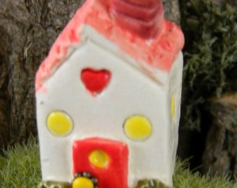 Fairy House Miniature Little Clay Ceramic Glazed Chalet .Tiny House .terrarium or Fairy Garden Home - Gnomes can live here too