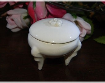 round  Treasure Pill  Box - ring holder ornate legs  perfect for ring, tooth fairy or miniature display