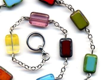 Multi color Necklace, Mod City Jewelry, Mod Necklace,  Czech Glass Necklace, City Girl Necklace by AnnaArt72