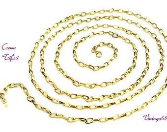 """Necklace Crown Trifari Gold tone 54"""" oval link"""