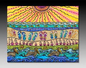 Beach Time Flip Flops Ceramic Tile Wall Art