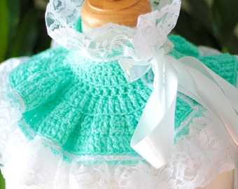 Lacy Victorian Style Neck Warmer - Lace Collar in Mint and White - Lots of Colors