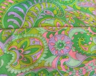 vintage 1960s scarf // pink green floral DAYGLO neon long psychedelic scarf