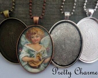 20 Complete DIY Pendant Kits - 30 x 40mm Oval Blank Trays, Matching Glass Cabochons and Ball or Rolo Link Chains