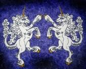 Pair Rampant Unicorn Heraldic Heraldry Felt Iron on or Sew On Patch Pair medieval renaissance