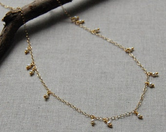Delicate Scattered Pearls on Gold Filled Chain, Random Pattern, Modern Design
