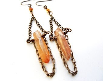 Brass Chain and Copper Quartz Drops, Long Dangle Earrings, Boho Fashion, Rustic Jewelry