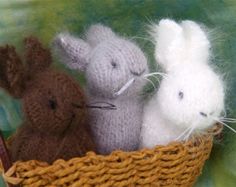 choose one little Angora Bunny eco friendly hand sewn grey, white or brown embroidered needle felt weighted to stand. (woolcrazy)