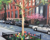 "Spring time on 22nd Street, NYC, original oil painting on canvas, 8"" x 10"""