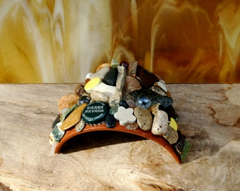 Toad House  Covered in Sierra Nevada Beer Cap  Colorful Stones  Agates & Pieces of Glass