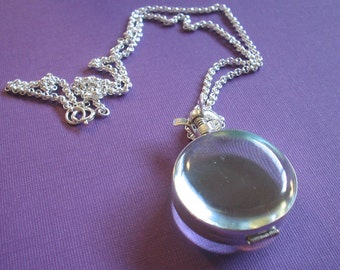 Glass Locket Necklace - Plain Round in Sterling Silver on Sterling Silver Chain - Keepsake Item (GLSR-01)