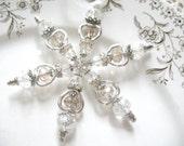 Vintage Crystal Snowflake Ornament