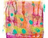 Art Print, Monoprint, Abstract Art, Wall Art, Acrylic Painting, printmaking, handmade, gifts, bright colors, orange, pink, turquoise
