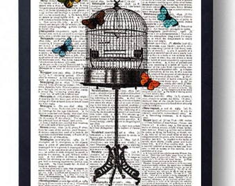 Original Art Print on A Vintage Dictionary Book Page / Birdcage Stand / Butterflys / Kitch