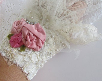 Ivory Bridal Lace Cuff Shabby Dress Blush Pink Silk With Vintage Millinery Shabby Rose Boho Chic Bohemian Style Cuff