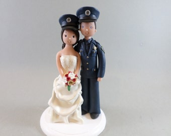 Bride & Groom Police Officers Personalized Wedding Cake Topper