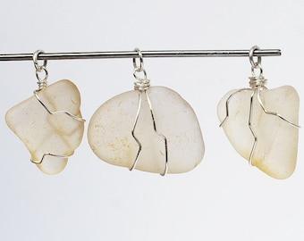 Beach Glass Pendants- 3 silver & white sea glass pendants, beach jewelry, seaglass pendant, wire wrapped sea glass, recycled glass pendants