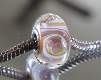 """Tangled Sky Glass """"Easter Sunday"""" #1 Fully Sterling Silver Lined Lampwork Charm Bead BHB"""