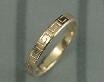 Solid Gold Greek Key Band--Gold Wedding Band--Greek Fret Gold Band--Gold Wedding Ring--Greek Meander Band--Greek Key Design Ring
