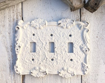 Triple Light Switch Cover, Metal Wall Decor, Creamy White, Cast Iron Lighting Outlet Cover, STYLE 109