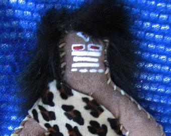 Tribal doll, suede doll, hand stitched doll, seven inch doll primative doll