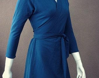 Organic dress, wrap dress, teal blue wrap, peacock dress, wrap sweater, more colors