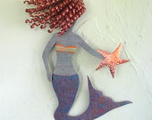 Metal Wall Art Mermaid - Red Head Recycled Metal Wall Hanging Beach House Coastal Cobalt Blue 8 x 13