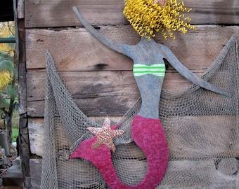 Huge Mermaid Metal Wall  Art Sculpture Extra Large Blonde Mermaid Beach House Decor Recycled Metal Wall Hanging  Mermaid Hot Pink 58 x 42
