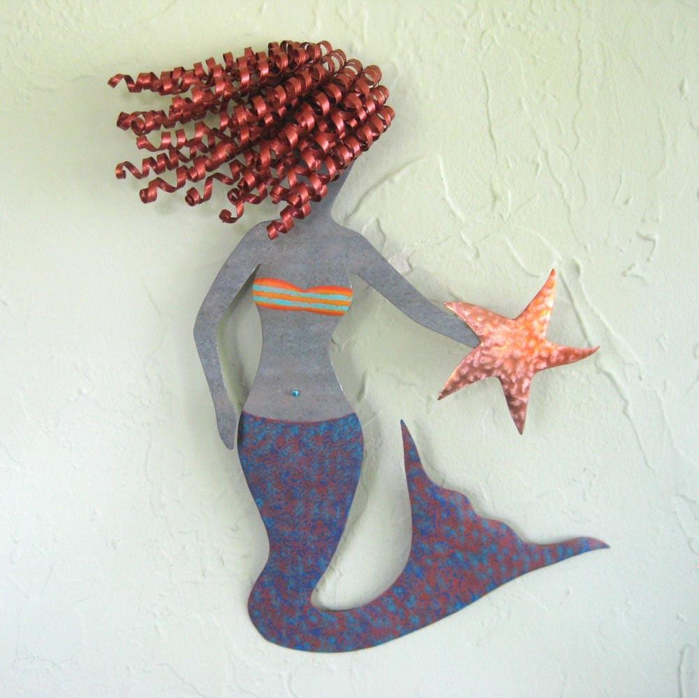Metal Wall Art Mermaid Red Head Recycled Metal Wall Hanging