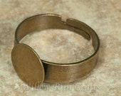10 Pack 10mm Ring Blanks with flat Pad in Bronze (07-42-776), Ring Setting