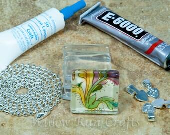 Combo DIY Kit to make 10 Glass Tile Pendants