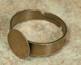 20 pcs 10mm Ring Blanks with 10mm flat pad Bronze (07-42-776)