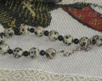 ONYX and DALMATION JASPER sterling silver bracelet