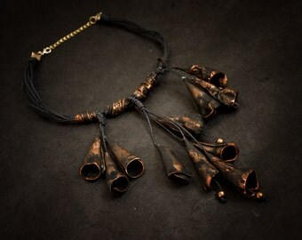 OOAK Designer statement leather necklace Copper color Unique leather jewelry