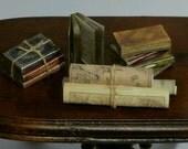 Tudor books,  Medieval miniature books, dollhouse books, maps, twelfth scale dollhouse miniature