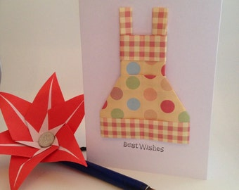 SALE Origami 'best wishes' greeting card - two tone apron