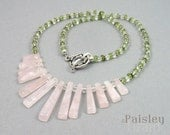 Rose quartz fan necklace with peridot and clear quartz beads, natural gemstones and sterling silver