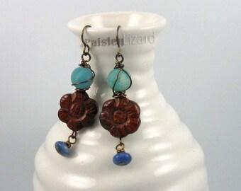 Poppy flowers rustic earrings, mixed gemstone beaded dangles on brass wire