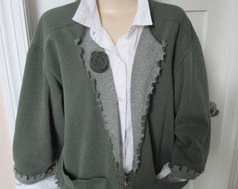 Sweatshirt Jacket, Appliqued Sweatshirt,Upcycled, Pigment Dyed Sweatshirt, Green Jacket, Fashionable Sweatshirt, Fringed Ladies Jacket