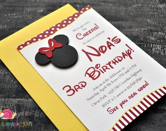 Minnie Mouse Invitations · A6 FLAT · Red and Yellow · Birthday Party | Mickey Mouse Clubhouse | Preschool